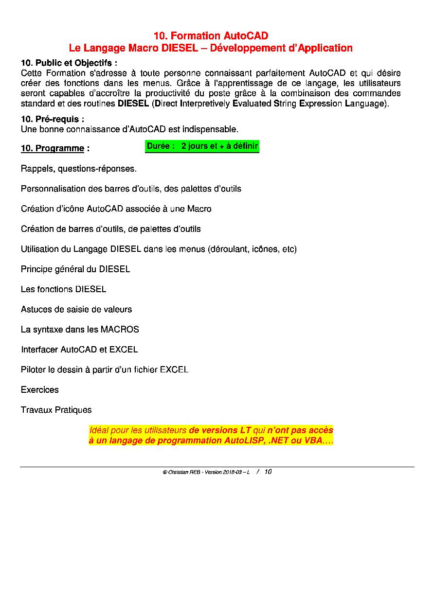 Formation AutoCAD MACROS - Langage DIESEL